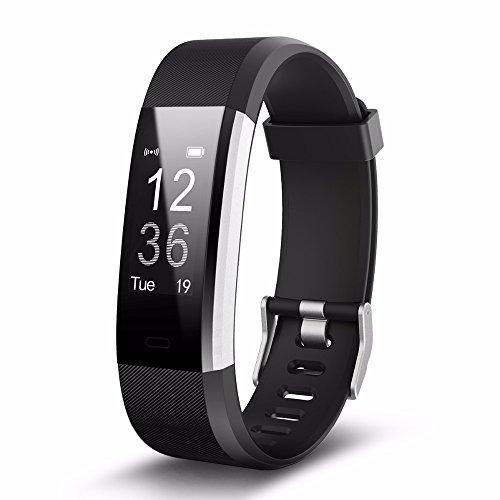 Torus Pro id115hr Plus schwarz Herzfrequenz Monitor Activity Tracker Fitness Uhr mit Schrittzähler und Kalorienzähler. Diese Sport Zubehör ist kompatibel mit iPhone und Android Handys, Easy USB Charge