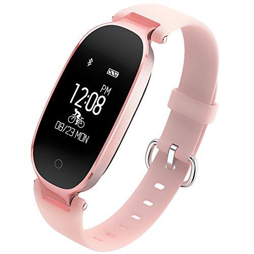 Fitness Armband für Damen, Smart Fitnessuhr mit Echtzeit Herzfrequenzmesser, Schrittzähler, Kalorienzähler, Sleep Monitor, usw, für Android 4.4, iOS 8.0 oder ab