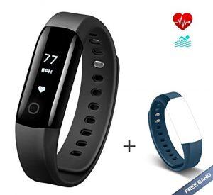 Fitness Tracker Arbily Vigorun4.0 Herzfrequenz mit IP68 Wasserdicht Fitness Armband Aktivität Tracker Smart Armband mit Alarm/Schritt Tracker/Kalorienzähler/Schlaf Monitor BLAU Strap ist ein Geschenk