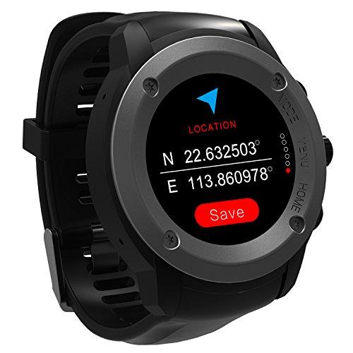 GPS Uhr HR Sport GPS Smartwatch Outdoor Sportuhr Laufuhr Herzfrequenz Schlaf Monitor mit Smart Notifications,Routenaufzeichnung Fitness Activity Tracker für iOS 8.0 & Android 4.4 and Above(Schwarz)