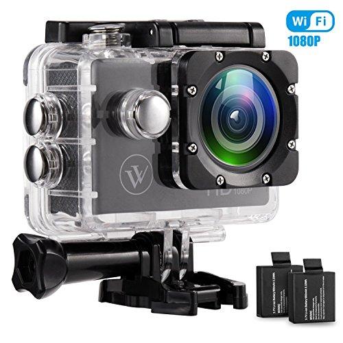 1080p Wifi Action Kamera Wasserdicht Sport Kamera 12mp 2.0 Zoll Full HD Unterwasserkamera mit 2 Verbesserten Batterien und Kostenlose Accessoires für Fahrrad Motorrad Tauchen Schwimmen Usw