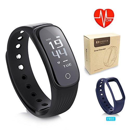 Fitness Tracker mit Pulsmesser, Marnur B2 Fitness Armband mit Herzfrequenzmesser ,Aktivitätstracker, Schrittzähler, Schlaf-Monitor, Kalorienzähler, Remote Shoot, Anrufen / SMS für Android und iOS