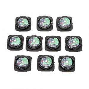 Mini-Kompass Set – SODIAL(R)10 Stueck Mini oel gefuellt geschobene Kompass Set fuer Armbaender oder Paracord Bracelets Outdoor Camping Wandern Reisen Notfall Survival Tool, Schwarz+Gruen