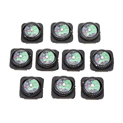 Mini-Kompass Set - SODIAL(R)10 Stueck Mini oel gefuellt geschobene Kompass Set fuer Armbaender oder Paracord Bracelets Outdoor Camping Wandern Reisen Notfall Survival Tool, Schwarz+Gruen