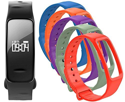 Fitness Tracker mit Herzfrequenz GPS Pulsmesser Blutdruck Sauerstoff Smartwatch Armband Uhr - Atlanta 9700