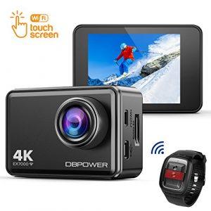 DBPOWER EX7000 Action Kamera 4K Sports Cam Panasonic Sensor 14MP 2″ Touchscreen Unterwasserkamera Helmkamera wasserdicht 170 Ultra-Weitwinkel mit 2 Batterien und Zubehör Kits