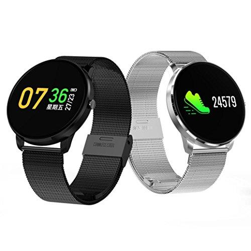 TPulling Mode Fitness Tracker Blutdruck Pulsmesser Aktivität Smart Armband des Blutdruckes Herzfrequenz Tracker Smart Watch Wasserdichte Fitness Armband Sport mit Android iOS Leder