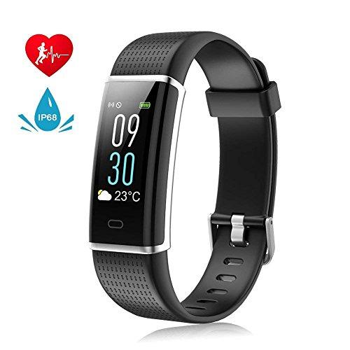 Fitness Armband mit Pulsmesser Wasserdicht IP68 Fitness Tracker Aktivitätstracker Bluetooth Pulsuhren mit 14 Trainingsmodi Farbdisplay Schlafmonitor Kalorienzähler Vibrationsalarm Anruf SMS Whatsapp kompatibel mit iPhone Android Handy