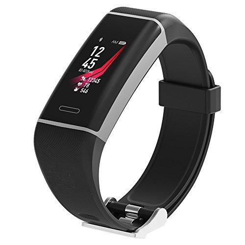 Fitness-Tracker Athletic - Sport-Uhr mit Integriertem GPS, Farbdisplay, permanente Herzfrequenz-Messung, Armband mit Uhren-Verschluss, Wasserdicht IP67 und deutsche Anleitung (schwarz)