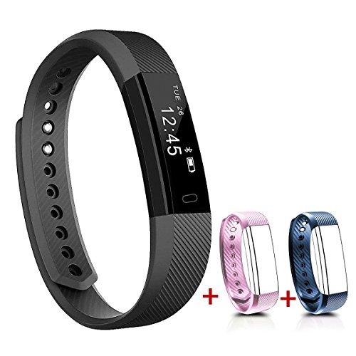 NAKOSITE SB2433 Schrittzähler, Fitness Armband, Activity Tracker, Fitness Tracker, Kalorienzähler, Schlafüberwachung, Distanz, Sportuhr, mit Lauf und Jogging App von VeryFit. Verbindet sich NUR mit iPhone und Android Telefonen. Erfordert Bluetooth 4.0,...