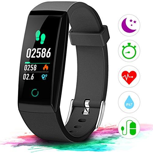 Fitness Armband mit Pulsmesser Farbdisplay IP67, Winisok Fitness Tracker mit Herzfrequenz Wasserdicht Schwimmen Smart Armband Pedometer Kompatibel mit iOS Android APP auf Deutsch