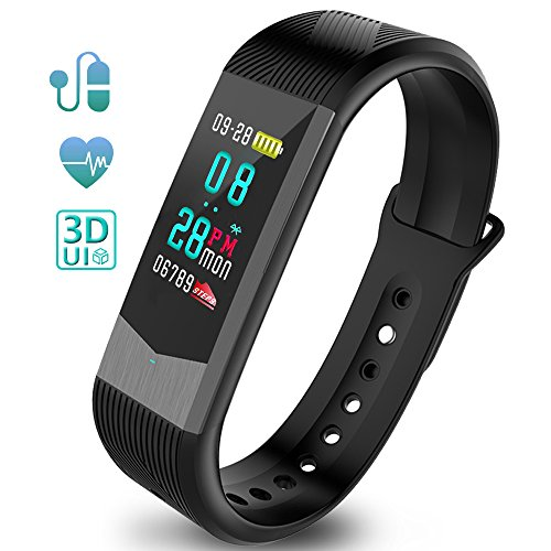 Ironpeas Fitness Tracker Fitness Armband Schrittzähler Uhr Pulsmesser Wasserdicht 3D UI Farbdisplay mit Schlaf-Monitor Kalorienzähler GPS-Routenverfolgung Blutdruckmonitor Notifications Anrufe