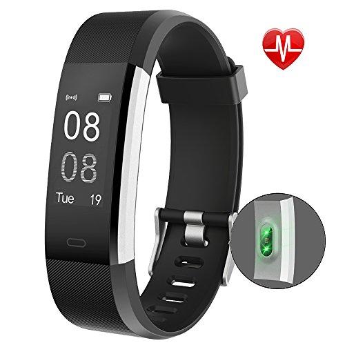 YAMAY Fitness Armband Uhr mit Pulsmesser Wasserdicht IP67 Fitness Tracker Aktivitätstracker Pulsuhren Smartwatch Fitness Uhr Schrittzähler ArmbandUhr mit Schlafmonitor Kalorienzähler Vibrationsalarm Anruf SMS Whatsapp Beachten für iPhone Android Handy