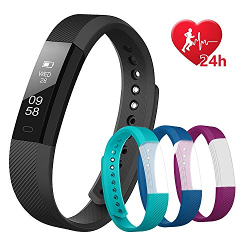 Fitness Armband mit 3 Ersatz-Bands, Fitness Tracker mit Pulsmesser, Wasserdicht IP67 Schrittzähler,Aktivitätstracker, Kalorien Zähler, Schlafen Monitor Benachrichtigung Anruf / SMS, Smart Sport Armbanduhr für iOS/Android