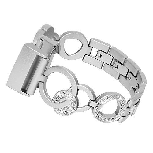 HEYSTOP für Fitbit Charge 3 Armband, Uhrenarmband Fitbit Charge3 Frauen Armbänder Damen Kristall Metall Edelstahl Ersatz Band Smartwatch Armband Uhren Fitness Tracker Zubehör mit Metallschließe für Fitbit Charge 3 (Silber)