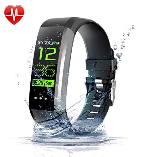 Novvaya Fitness Armband,Wasserdicht IP67 Fitness Tracker mit Pulsmesser 0,96 Zoll Farbbildschirm Aktivitätstracker Fitness Uhr Smartwatch,Pulsuhren,Smart Watch für Damen Herren,Schrittzähler Uhr