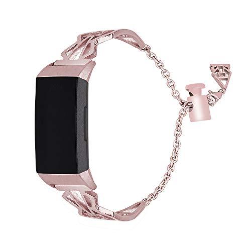 HEYSTOP für Fitbit Charge 3 Armband, Uhrenarmband Fitbit Charge3 Frauen Armbänder Damen Edelstahl Ersatz Armband Uhren Fitness Tracker Zubehör mit Metallschließe für Fitbit Charge 3 (Rosa)