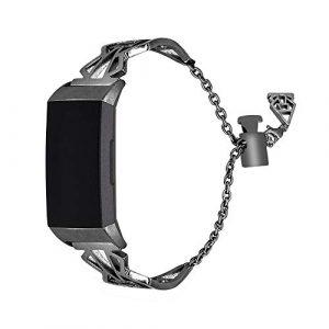HEYSTOP für Fitbit Charge 3 Armband, Uhrenarmband Fitbit Charge3 Frauen Armbänder Damen Edelstahl Ersatz Armband Uhren Fitness Tracker Zubehör mit Metallschließe für Fitbit Charge 3 (Schwarz)
