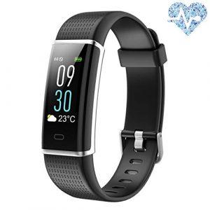 alwaiiz Fitness Tracker,Wasserdicht Fitness Armband Farbbildschirm Aktivitätstracker mit Pulsmesser Schrittzähler Schlaf-Monitor Fitness Uhr Sportuhr für Damen Herren Kinder(Schwarz)