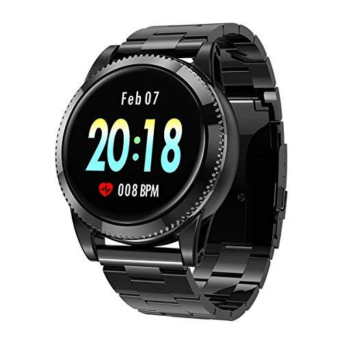 Sport smartwatch, GOKOO Runde Farbdisplay Multi-Dial-Musiksteuerung Pulsmesser Smart Watch für Männer Herren  Frauen Activity Tracker Fitness Armbanduhr mit Schrittzähler Remote Shutter Musik Smartwatch für iOS  und  Android
