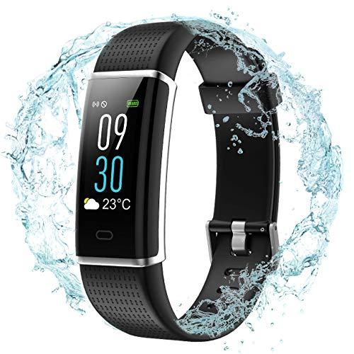 VICTSING Fitness-Tracker,Aktivitätstracker mit integriertem USB-Ladekabel, 0,96-Zoll-Farbdisplay mit einstellbarer 5-Stufen-Helligkeit, IP68 Wasserdichtes Smart-Armband mit Herzfrequenzsensor, Schrittzähler und Schlafmonitor für Android und iOS(Schwarz)