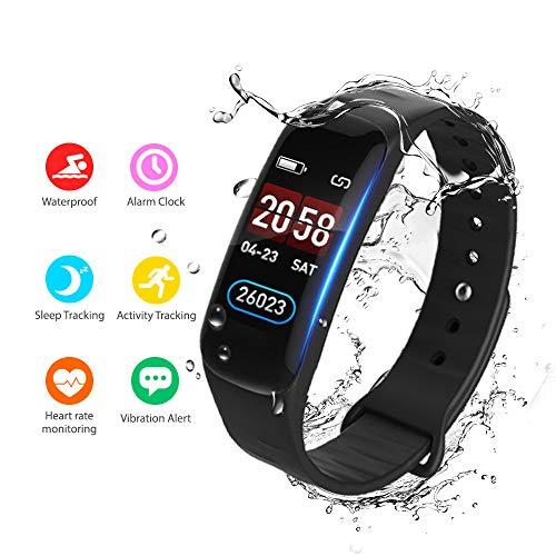 Fitness Armband mit Pulsmesser,Wasserdicht Fitness Tracker mit Farbbildschirm Schrittzähler Kalorienzähler Blutdruck Aktivitätstracker Vibrationsalarm Anruf SMS mit iOS Android Handy für Damen Herren