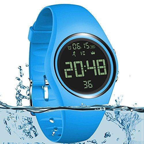 Armbanduhr und Fitness-Armband, wasserdicht IP68, zum genauen Verfolgen von Schritten, Entfernungen und Kalorien, mit Timer-Funktion, zum Laufen, Rennen für Damen und Herren (ohne Bluetooth), blau