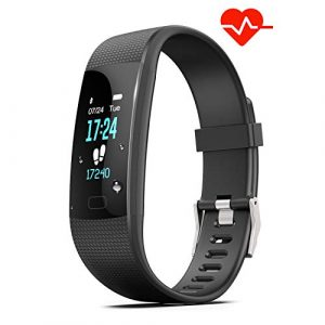 Akuti Fitness Armband mit Pulsuhr, Wasserdicht IP68 Fitness Tracker Uhr mit 4 Trainingsmodi/ 0,96 Zoll Farbbildschirm/Schrittzähler/ Schlafmonitor/Anruf SMS Whatsapp Melden für Kinder Damen Herren