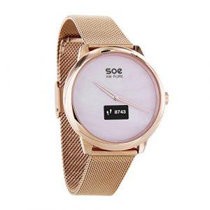 X-WATCH │ SOE XW Pure │ Damen Smartwatch Schrittzähler Hybrid Smartwatch mit Analoguhr und Touch-Display Fitness Tracker für Android und iOS