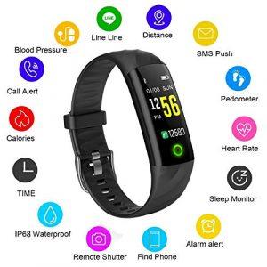 Fitness Trackers LIGE IP68 Wasserdicht Farbdisplay Intelligentes Armband Pulsmesser Blutdrucküberwachung Kalorienzähler Sport Schrittzähler Männer und Frauen Sport Armband für Android iOS