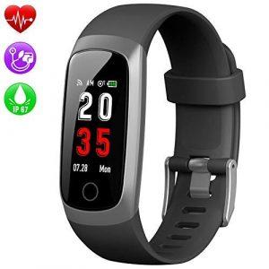 Kilponen Fitness Tracker Uhr mit Pulsmesser, Fitness Armband Blutdruckmesser Wasserdicht IP67 Smartwatch Schrittzähler Uhr Farbbildschirm GPS Aktivitätstracker Stoppuhr für iPhone Android Handy