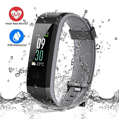 ESOLOM Fitness Armband Uhr mit Pulsmesser, Wasserdicht IP68 Leicht Fitness Tracker Farbbildschirm Aktivitätstracker Bluetooth Smart Armbanduhr Schrittzähler mit Schlafmonitor Kalorienzähler
