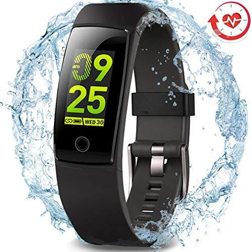 Wasserdichter Aktivitäts-Tracker, MorePro Farbdisplay Fitness Tracker mit Herzfrequenz-Blutdruckmessgerät, Schwimmen Smart Armband Pedometer Uhr mit Schlaf-Monitor für Frauen Männer Kinder,Schwarz