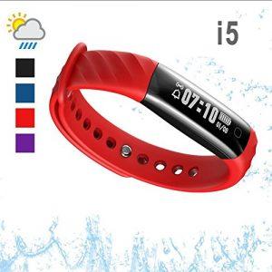 iKeeGan Fitness Armband Uhr, IP67 Wasserdicht Fitness Tracker Bluetooth Smart Armbanduhr mit Pulsmesser, Kalorienzähler, Schrittzähler & Intelligente Benachrichtigungen für Männer Damen Kinder (Rot)