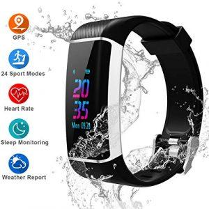 YOUNGDO Fitness Armband, Wasserdicht Fitness Tracker, Sportuhr Damen / Herrn, Pulsmesser, Schrittzähler, Kalorienzähler, Schlaf-Monitor, 24 Sportmodi Vibrationsalarm, Android / iOS kompatibel