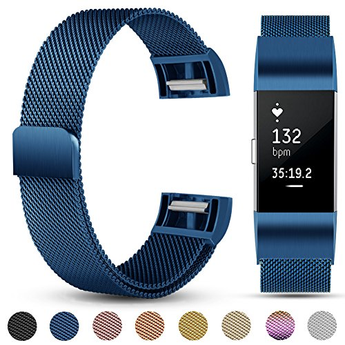 Für Fitbit Charge 2 Armband, eDriveTech Milanese Edelstahl Metallarmband mit Einzigartiger Magnetverriegelung Uhrenarmband Verstellbarem Ersatzband Armbänd