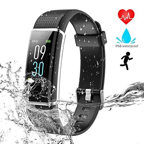 WZTO Armband Uhr mit Pulsmesser IP68 Wasserdicht Fitness Tracker Schrittzähler Schlafmonitor 14 Sport Modi Fitness Armband Aktivitätstracker für Herren Damen Kinder Schwarz