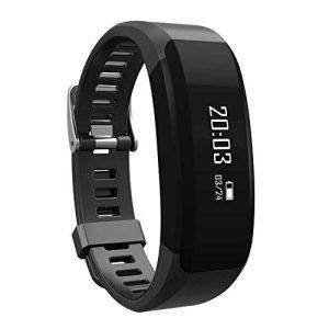 Smartwatch Fitnessuhr mit Schrittzähler – Fitness-Tracker mit Herzfrequenz für Frauen und Männer – Bluetooth Pulsuhr mit Benachrichtigung bei Anruf, SMS, Social Media & Kalorienverbrauch – Wasserdicht