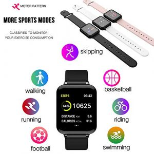 samLIKE Smartwatch für Herren und Damen Bluetooth Whatsapp Fitness Uhr 丨 Pulsmesser 丨 Blutdruck Rekord 丨 Multi Sport Modus 丨 Anrufen/SMS 丨 Remote-Kamera 丨 Kompatibel mit Android/iOS