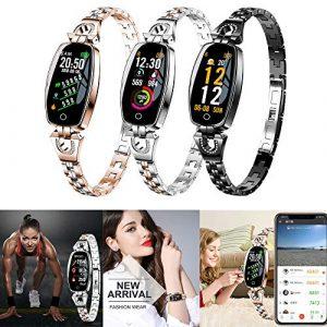 Mode Fitness Tracker   Smartwatch mit Blutdruck- und Herzfrequenz Monitor   H8 Farbbildschirm, Diamant Edelstahl   Mehrfachsportmodus   Fitness Uhr für Android und IOS Smartphones   Damen Herren