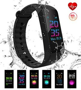EUMI Fitness Armband mit Pulsmesser Wasserdicht IP67 Fitness Tracker Aktivitätstracker Pulsuhren Smartwatch Schrittzähler Uhr Vibrationsalarm Anruf SMS Whatsapp Beachten für iPhone Android Handy