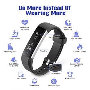 Motenik Fitness Tracker, Fitness Armband Uhr mit Pulsmesser Schlank Aktivitäts Tracker mit Herzfrequenzmesser