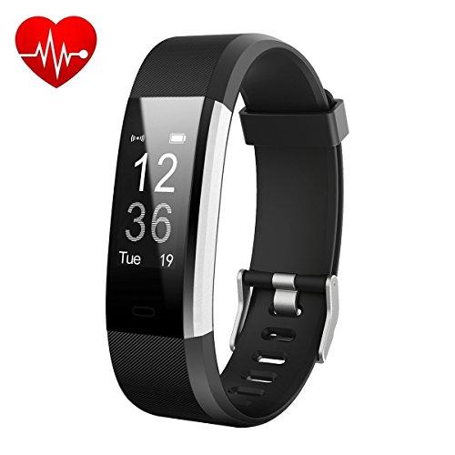 HETP Fitness Armband Uhr mit Pulsmesser, Fitness Tracker Schrittzähler Fitness Pulsuhren Wasserdicht IP67 Aktivitätstracker Bluetooth Sport Uhr mit Schlafüberwachung Anruf SMS für Kinder Damen Männer