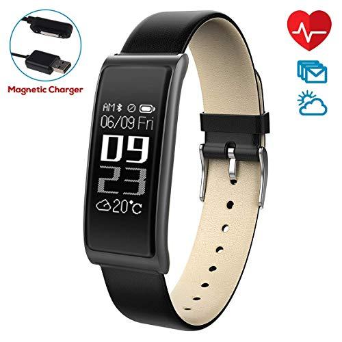 CHEREEKI Fitness Tracker [Elegantes Lederarmband], Herzfrequenzmonitor Smart Armband Fitness Armbanduhr mit Aktivitätstracker/Schrittzähler / Schlafüberwachung/Push Anruf-Benachrichtigung