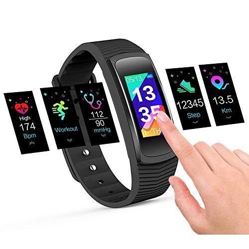 icefox Ice Unisex Adult 1 Trackers, Smart Fitness Armband Uhr, Wasserdicht IP67 Bluetooth Aktivitätstracker mit Pulsmesser|Herzfrequenzmonitor|Schlafmonitor|Schrittzähler| Kalorienzähler|, Schwarz, 1