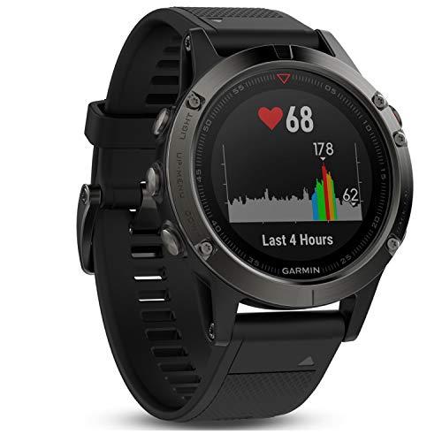 Garmin fēnix 5 GPS-Multisport-Smartwatch, Herren, Herzfrequenzmessung am Handgelenk, Sport- und Navigationsfunktionen, grau/schwarz