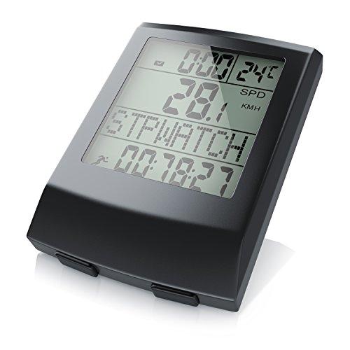 CSL - Fahrradcomputer kabellos | Fahrradtacho | Radcomputer | Tachometer | 13 Funktionen | Temperaturanzeige in °C | Reed-Sensor | inkl. Befestigungsmaterial | Hintergrundbeleuchtung