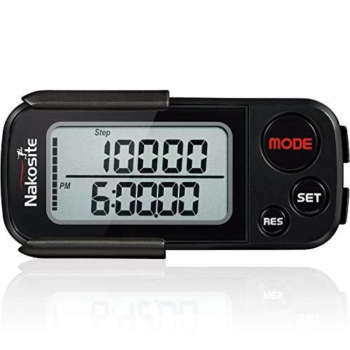 Nakosite BPED 2433 Genauer 3D Schrittzähler Fitness Trackers Pedometer mit Clip & Gurt Aktivitätstracker OHNE Smartphone Handy Bluetooth App für Damen Herren Kinder. Kalorienzähler