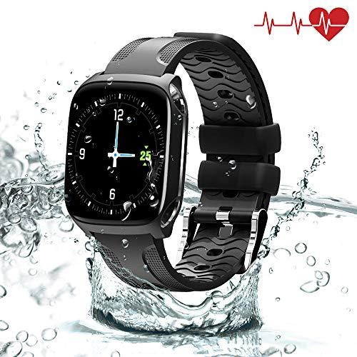 QiyuanLS Fitness Tracker mit Pulsmesser Herren & Damen Aktivitätstracker Wasserdicht IP67 Armband Schrittzähler Blutdruck SMS Farbbildschirm Uhr(TF9)