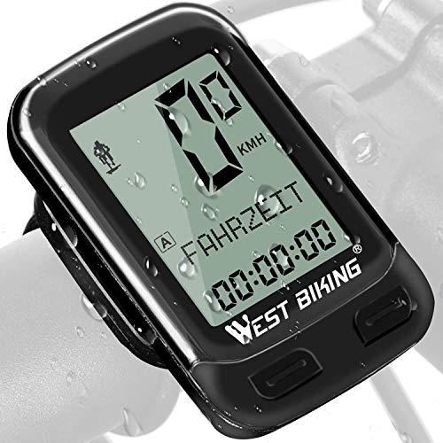 Fahrradcomputer Kabellose Fahrrad Tacho Drahtlos, 18 Funktionen Wasserdicht Leicht Großbildschirm Radcomputer Funk Kabellos LCD Geschwindigkeitsmesser Kilometerzähler Geschwindigkeit